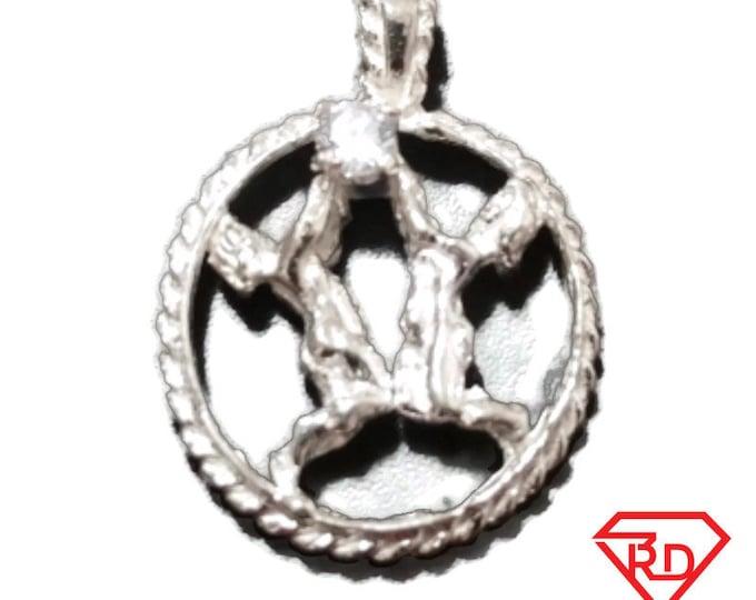 Astrology Zodiac Gemini Horoscope Birthday Anti Tarnish .925 Sterling Silver Pendant