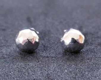 New 14K White Gold on 925 Sterling Silver Round Ball Stud Earrings