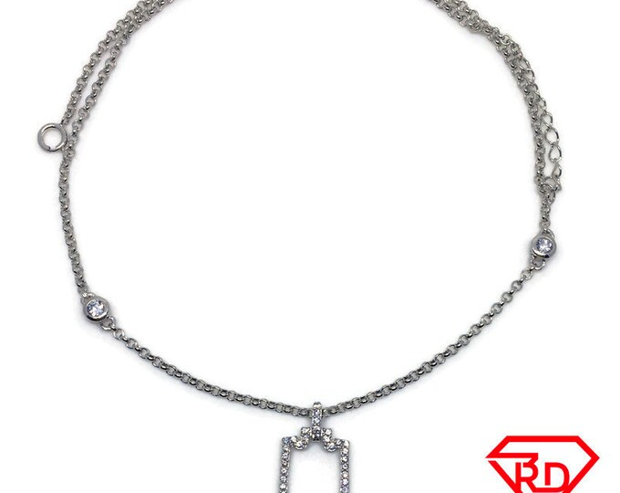 Hollow Rectangle CZ Necklace 16 inch chain white gold on silver