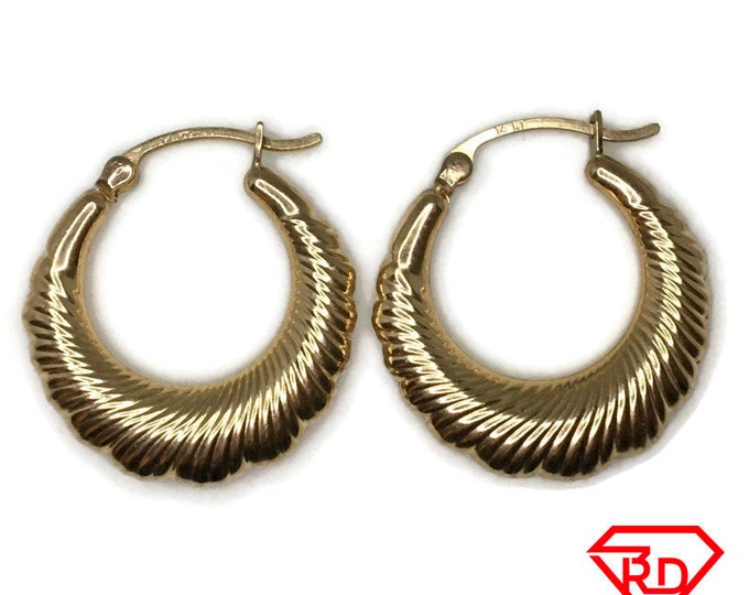 14K Hollow Hoop Artistic Earrings of yellow gold