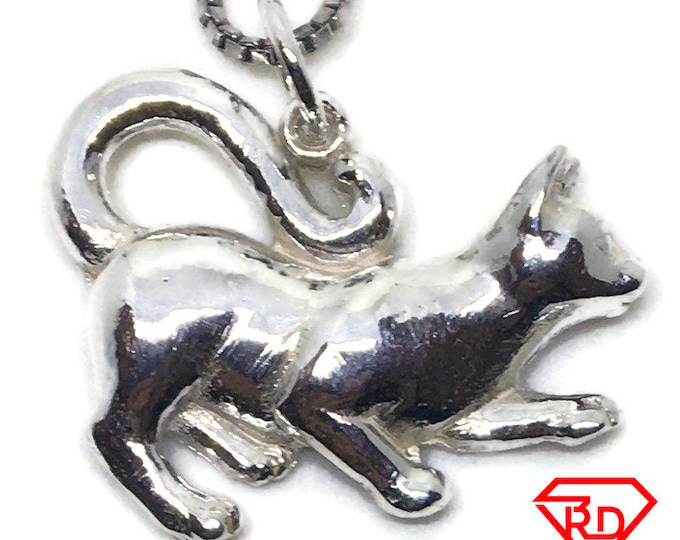 walking Cat small charm pendant 925 Solid Silver