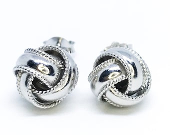 NEW unique 14K White Gold Layered on Sterling Silver Circular Knot Earrings