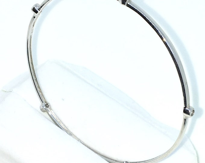 New White Gold Layered on 925 Solid Sterling Silver Bangle Bracelets penta round CZ plain slip in