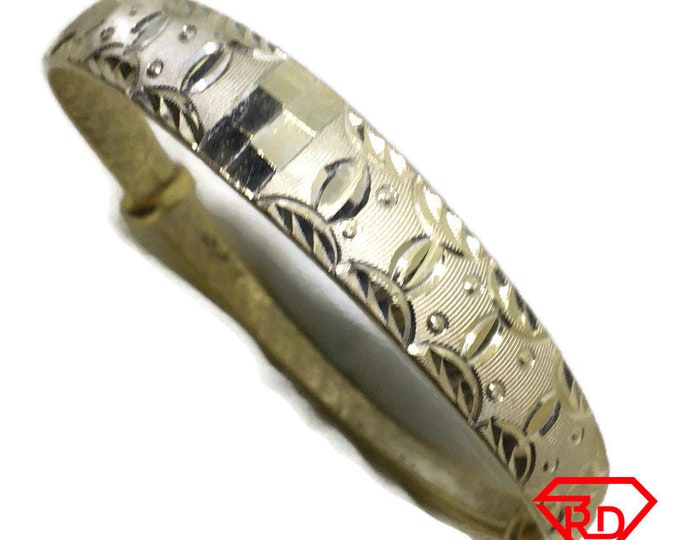 Diamond cut Oval slip in Bangle 999 Yellow Gold Layer