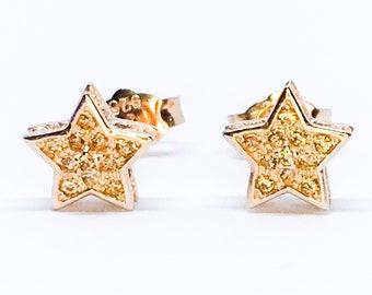 NEW 14K Rose Gold Latered on Sterling Silver Star Earrings