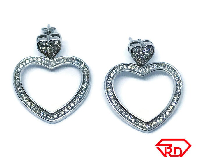 14K white gold on sterling silver dangling double heart earrings