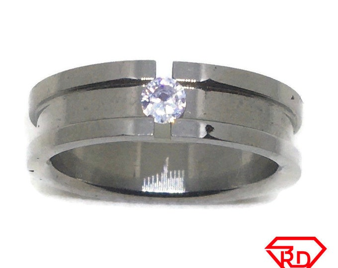 White round CZ Center line Stainless Steel Ring S9