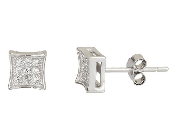 Small Square .925 Sterling Silver Micro Pave Cz Stone Earrings