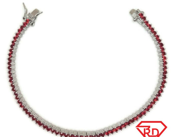 New White Gold Layered Tennis Bracelet Two prong basket round red CZ
