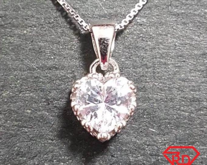 New 14k White Gold On 925 Crown Princess Heart Pendant Charm