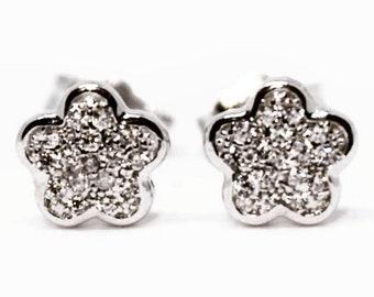 Cute Little Sterling Silver Flower Earrings