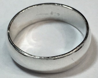 Handmade solid 990 Silver high polished glossy plain wedding Ring Band 5.8mm Size 9.75