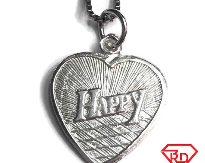 "New 925 Silver Chinese Character Writing ""Love"" &  Happy Heart Charm Pendant Reversible Design"