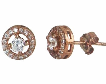 14k Rose gold layer Stud Earrings Halo round setting on Cubic Zirconia Gem Stone silver