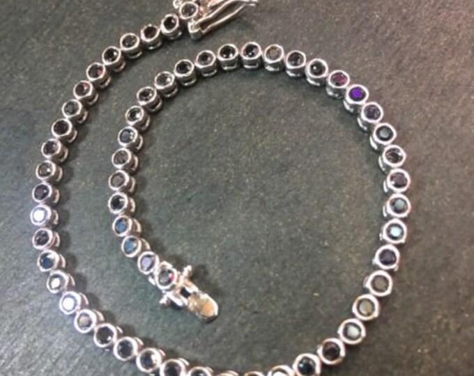 14k gold layer on sterling silver 2ct black cz tennis link chain bracelet 3.1mm