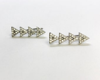 NEW .925 Sterling Silver Triangle Line Dangle Earrings