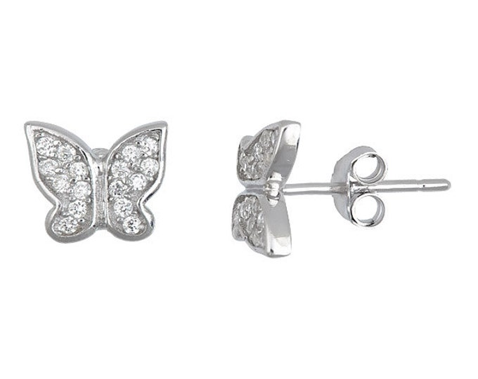 Butterfly CZ white gold 18k layered on .925 sterling silver micro pave earrings