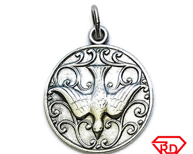 NEW 14K White Gold Layered on .990 Sterling Black Silver Eagle Circle Plate Pendant