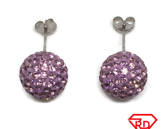 Pink Disco Ball Crystal Large stud Earrings White gold layer