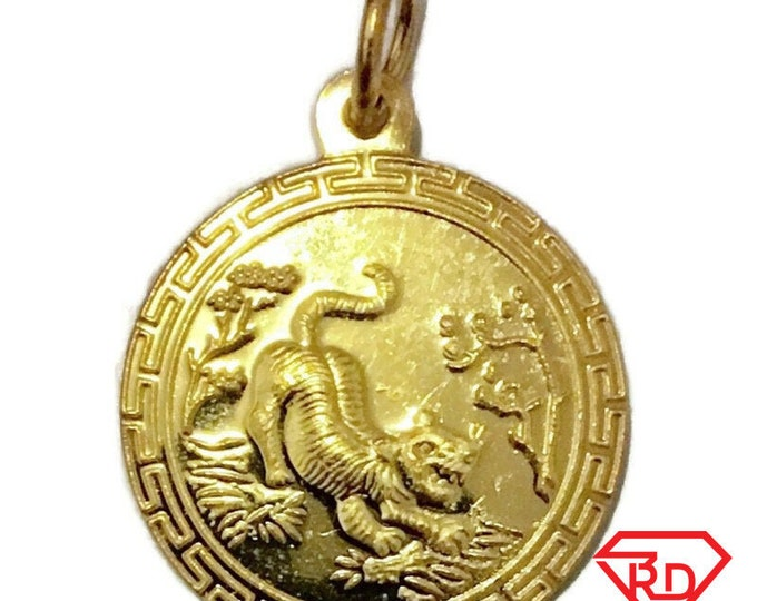 New Yellow Gold on Silver Pendant Round tiger zodiac and fortune