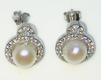 Brand New White Gold on 925 Solid Sterling Silver Double circle cz with single pearl studs Earrings ( 9 . 7  mm )