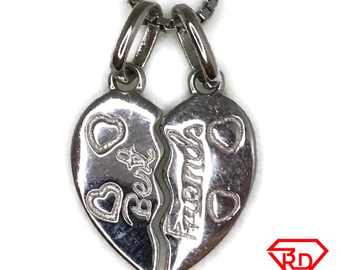 Broken Heart best friends charm pendant white gold on silver