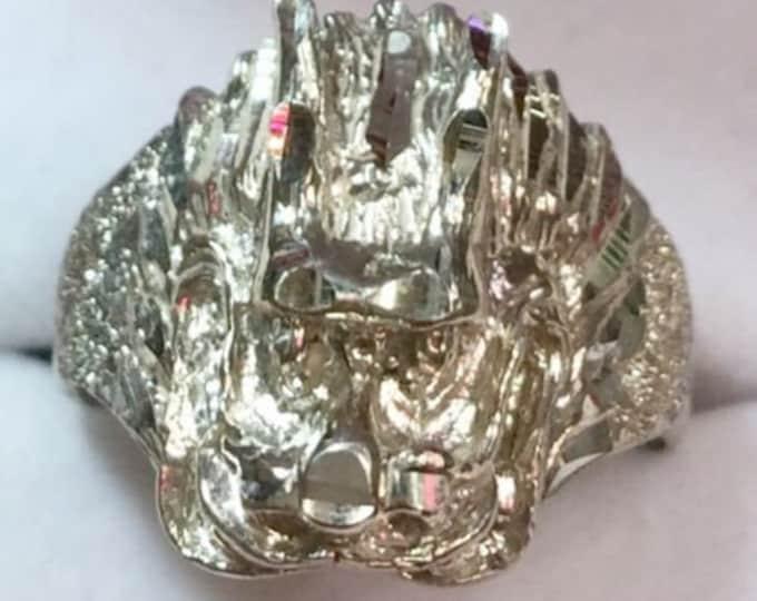 New custom handmade asian chinese diamond cut bling design dragon head ring s-9