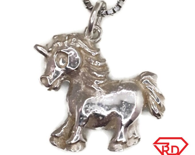 New Handcraft Anti-Tarnish 925 Silver Pendant one sided little unicorn and free chain