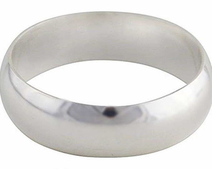 Solid 999 Fine Silver high polished glossy plain wedding Ring Band 5.5 mm S- 8