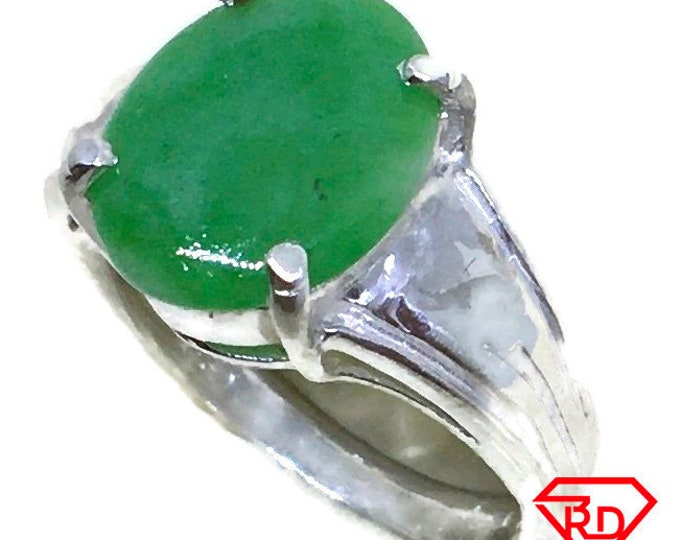 Oval green Jade ring 4 prong set 925 silver s5 . 5