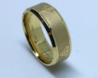8 . 0 mm Brand New Yellow Gold Plated with Superman Symbol on Stainless Steel ring band