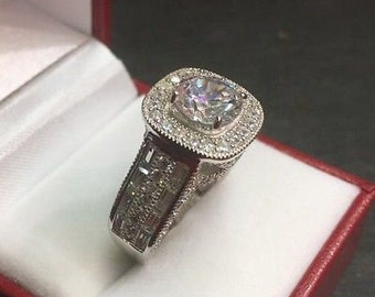 New 14k gold on silver big zirconia crystal  engagement wedding ring band s -7.5