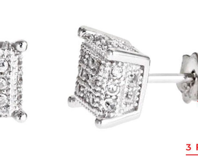 14k white gold layer on Small Square micro pave set all size CZ 925 Silver Stud Earrings