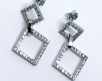 Dangling Diamond Shape 14K White Gold on Sterling Silver Earrings