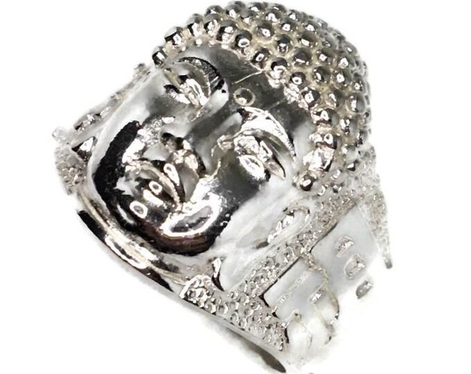 Buddha Head Men ring Anti-Tarnish Silver Band (Size  8 )