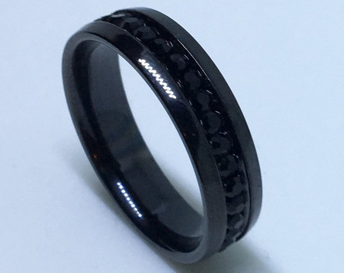 5 . 9 mm Brand New Gothic Black Plated with Black gems in Center Line on Stainless Steel ring band