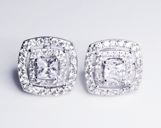 NEW 14K White Gold on 925 Square Cut CZ Earrings