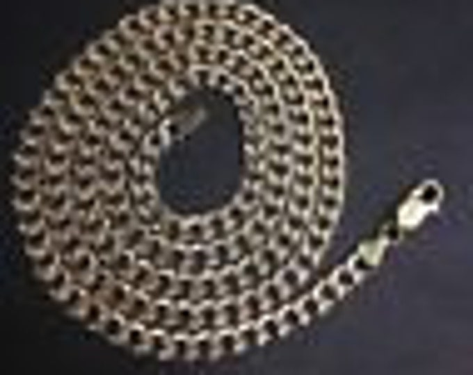 """New hollow two tone 14k layer on silver italian curb chain necklace 4.5mm-26"""""""