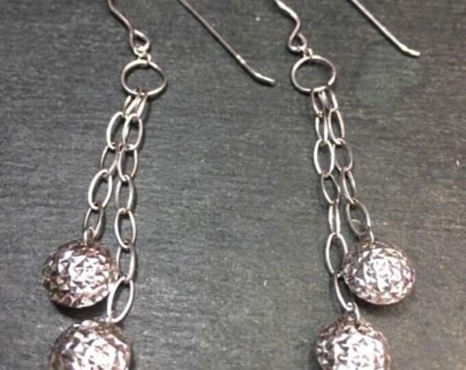 "New 14k gold layer on 925 silver bar & 2 disco ball 2"" dangling fishhook earring"