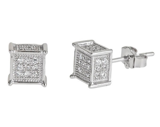 Cube Micro Pave CZ .925 Stud Earrings