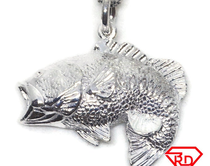 Fresh water Fish charm pendant 925 Sterling Silver