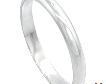 Italy Anti tarnish .925 silver high polished glossy plain wedding band ring 4 mm Size 3.5