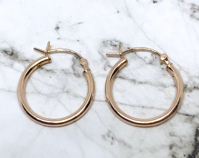 NEW 14K Gold Layered on Round Hoop Earrings