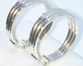 Brand New White Gold on 925 Solid Sterling Silver Triple Plain unique cut Hoop earrings ( 30 . 0  mm )