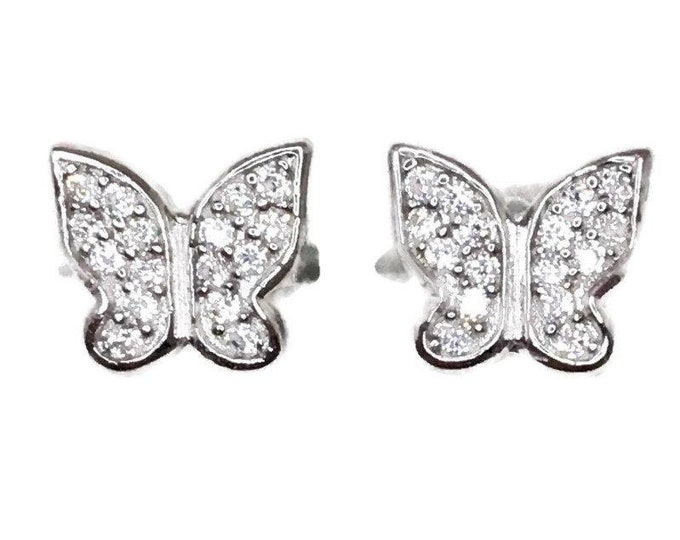 Brand new white gold on 925 silver studs earrings small butterfly