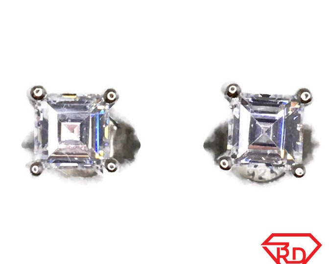 Cubic Zirconia Stud Earrings Small Emerald cut White Gold on Silver
