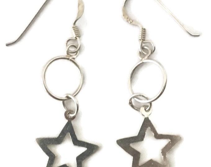 Brand New Anti-tarnish Silver Earrings dangle drop circle and star ( 14 . 7 mm )