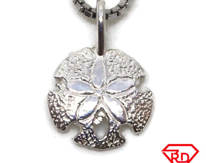 Round flower tiny charm pendant 925 Solid Silver