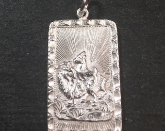 """Medium Size New 925 silver Reversible Design Chinese character writing """"Happiness"""" &  Year is the Goat Zodiac Charm Pendant"""