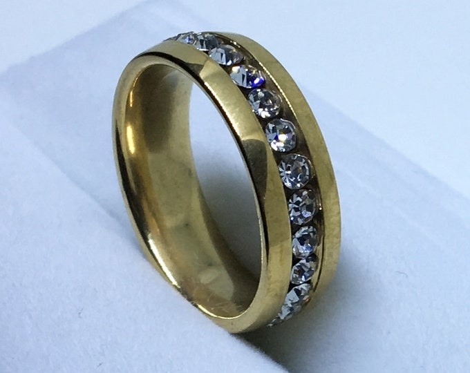 5 . 8 mm Brand New Yellow Gold Plated with White gems in Center Line on Stainless Steel ring band